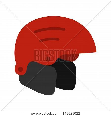 Red ski helmet icon in flat style on a white background