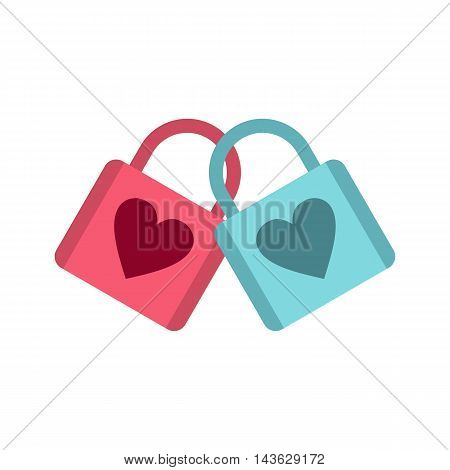 Blue and pink padlocks with heart icon in flat style on a baby whute background