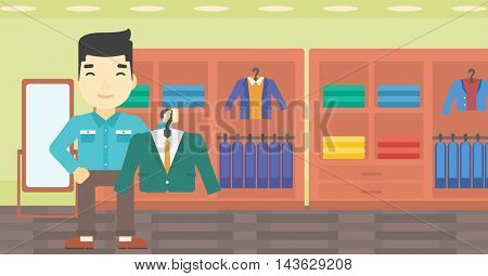 An asian young man holding hanger with suit jacket and shirt. Man choosing suit jacket at clothing store. Shop assistant offering suit jacket. Vector flat design illustration. Horizontal layout.