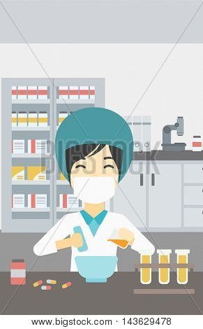 Asian female pharmacist in mask using mortar and pestle for preparing medicine in the laboratory. Pharmacist mixing medicine at the hospital pharmacy. Vector flat design illustration. Vertical layout.