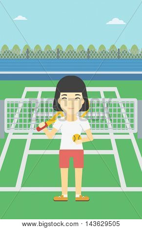 An asian female tennis player standing on the tennis court. Tennis player holding a tennis racket and a ball. Young woman playing tennis. Vector flat design illustration. Vertical layout.