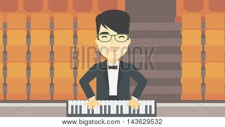 An asian smiling musician playing piano. Pianist playing upright piano. Male artist playing on synthesizer. Vector flat design illustration. Horizontal layout.