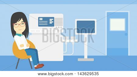 An asian female ultrasound doctor sitting with arms crossed. Female doctor sitting near modern ultrasound equipment at medical office. Vector flat design illustration. Horizontal layout.