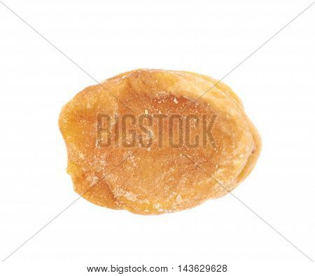 Single dried apricot fruit isolated over the white background