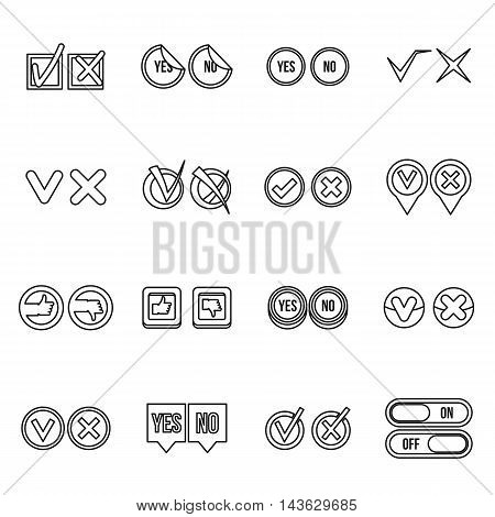 Check mark icons set in outline style. Yes and No set collection vector illustration