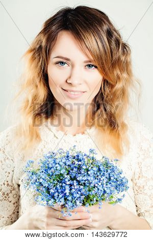 Pretty Girl with blue Flowers on gray
