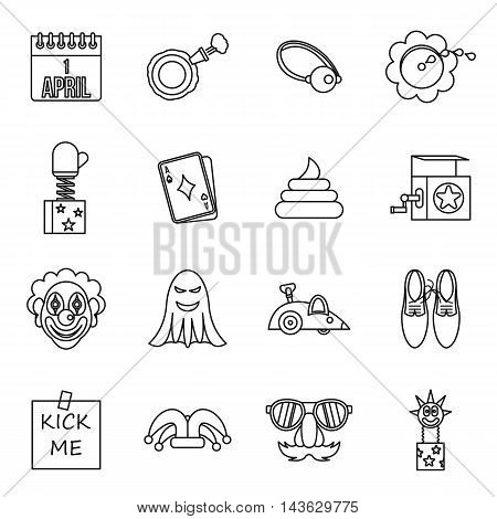 April fools dayicons set in outline style. Prank playful actions set collection vector illustration