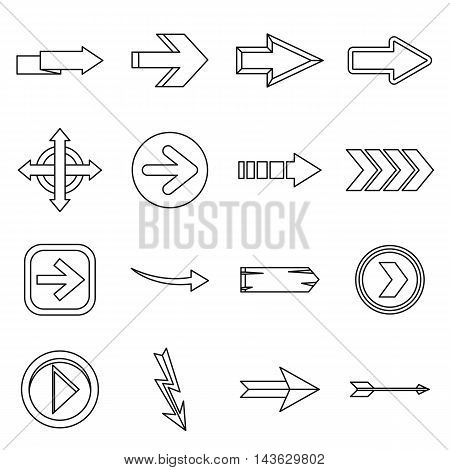 Arrow icons set in outline style. Arrow sign set collection vector illustration