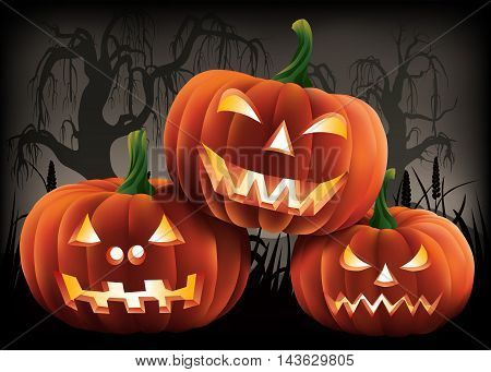 Three carved pumpkins in a creepy halloween scene.