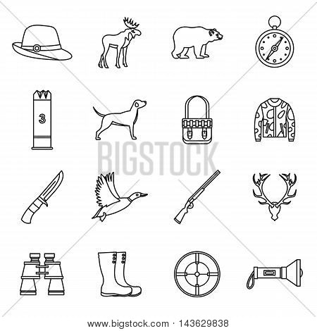 Hunting icons set in outline style. Hunters equipment set collection vector illustration