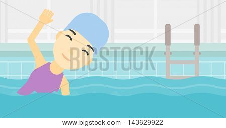 An asian young sportswoman wearing cap and glasses swimming in pool. Professional female swimmer in swimming pool. Vector flat design illustration. Horizontal layout.