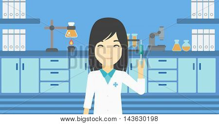 An asian female laboratory assistant holding syringe. Laboratory assistant with syringe in a laboratory. Laboratory assistant making medical test. Vector flat design illustration. Horizontal layout.