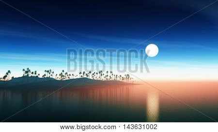 3D render of an island of palm trees against a sunset sky