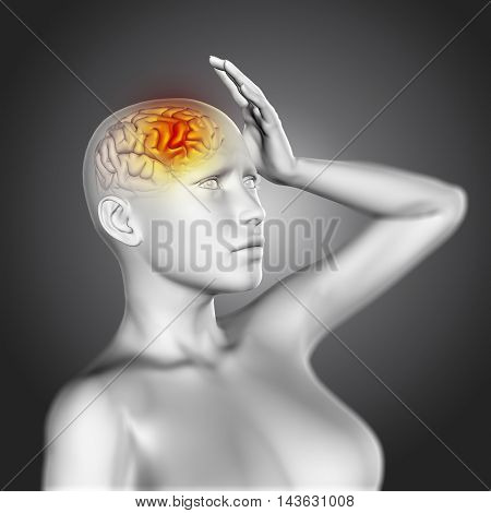 3D render of a female figure in pain with brain highlighted