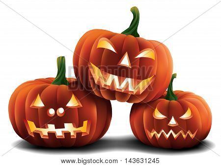 An arrangement of carved pumpkins isolated on a plain background.