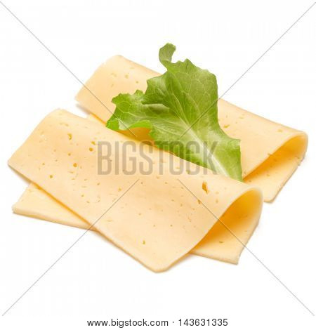 cheese slices  and salad leaves isolated on white background cutout