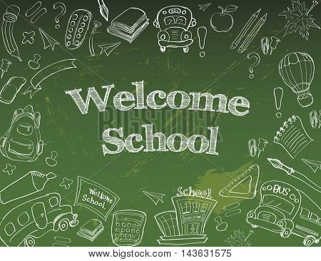 Welcome Back to School Classroom Supplies Notebook Doodles Hand-Drawn Illustration Design Elements, Freehand drawing, Vector. blackboard background.Freehand drawing Vector