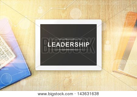 leadership word on tablet with soft light vintage effect