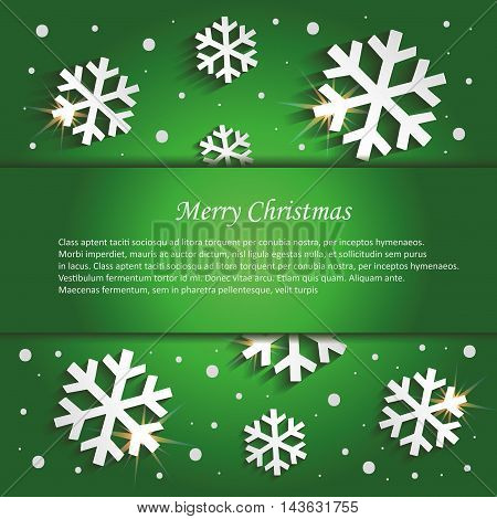 Christmas snowflakes congratulations background green vector template
