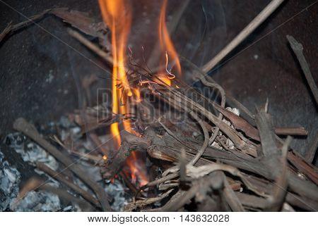 Dry twigs burning on a dark background