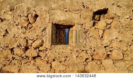 Rethymno city Greece Fortezza fortress wall window detail