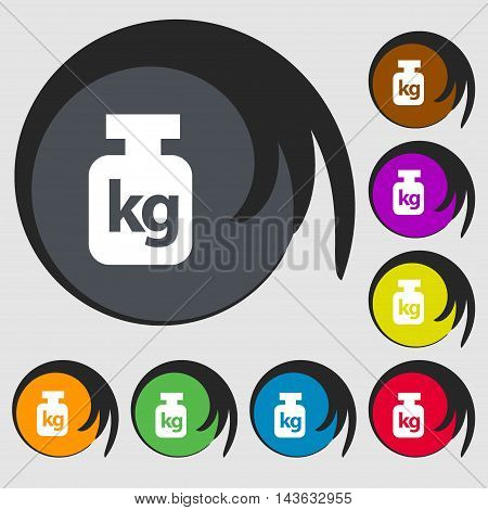 Weight Sign Icon. Symbols On Eight Colored Buttons. Vector