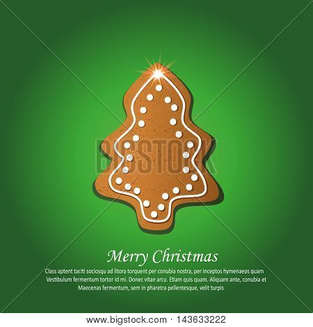 Christmas tree gingerbread greeting card green vector