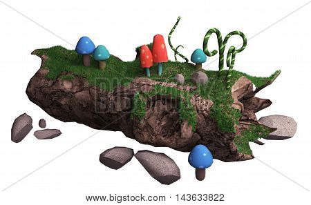 3d illustration on a white background. old fallen tree and mushrooms