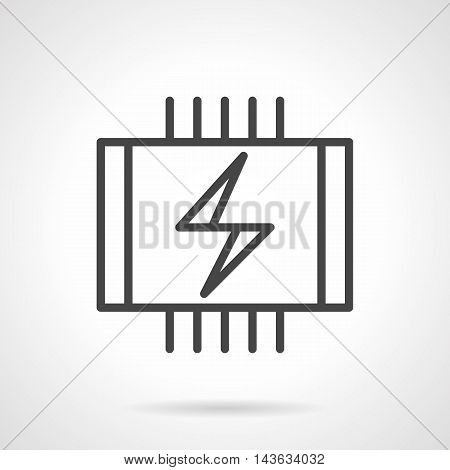 Symbol of electric warm floor - wires with power sign. Installing under the laminate or tile. Domestic and commercial heating system and services. Single black simple line style vector icon.