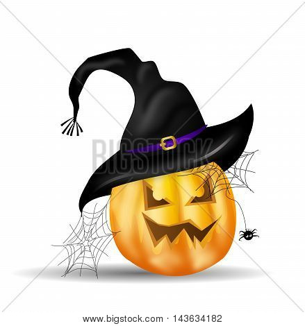 Illustration of halloween pumpkin with witch hat