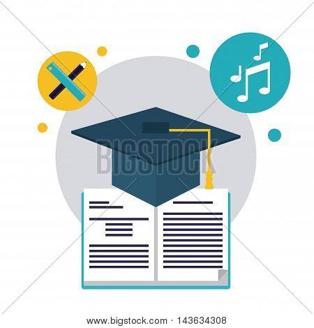 book graduation cap music pencil education learning school icon. Colorful design. Vector illustration