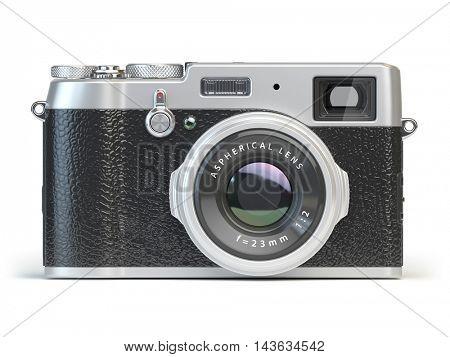 Vintage photo camera isolated on white. 3d illustration