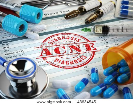ACNE  diagnosis. Stamp, stethoscope, syringe, blood test and pills on the clipboard with medical report. 3d illustration