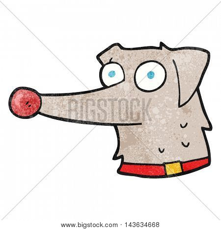 freehand textured cartoon dog with collar