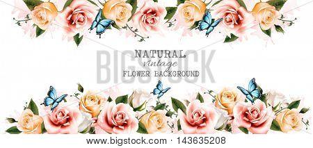 Long horizontal flower banner. Vector.