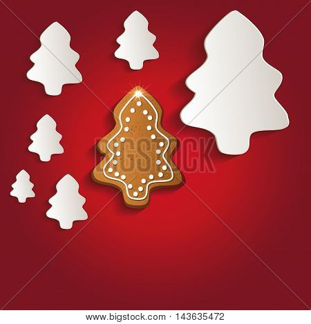Christmas trees gingerbread greeting card red raster