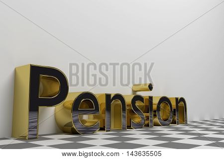 Pension gold rendered illustration with white background. 3D render.