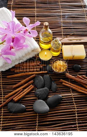 Spa setting with bamboo mat