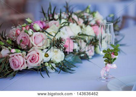 beautiful glasses of champagne and wine, wedding decor, celebration