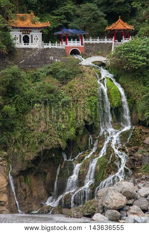 Changchun temple, Eternal Spring Shrine and waterfall at Taroko National Park in Hualien, Taiwan