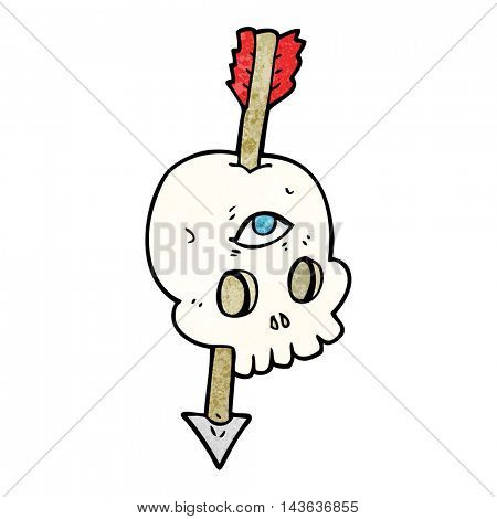 freehand textured cartoon magic skull with arrow through brain