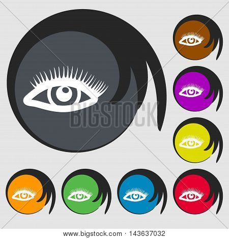 Eyelashes Sign Icon. Symbols On Eight Colored Buttons. Vector