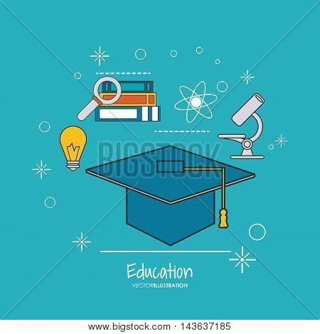 graduation cap books bulb lupe microscope education learning school icon. Colorful design. Vector illustration