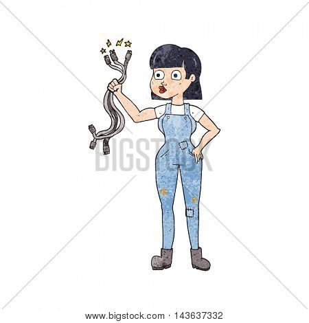 freehand textured cartoon female electrician