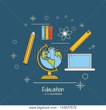 laptop planet sphere pencil books atom education learning school icon. Colorful design. Vector illustration