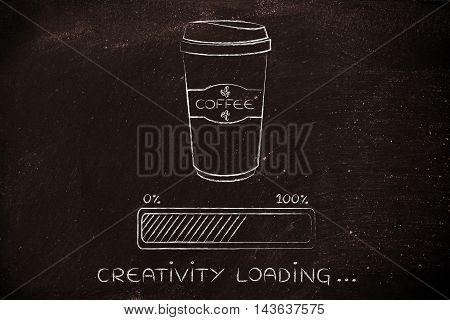 Coffee Tumbler And Progress Bar Loading Creativity