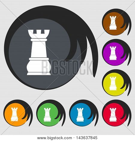 Chess Rook Sign Icon. Symbols On Eight Colored Buttons. Vector