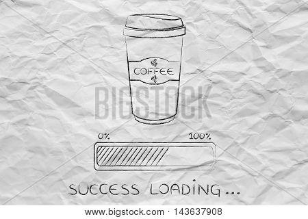 Coffee Tumbler And Progress Bar Loading Success