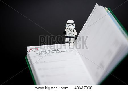 Orvieto, Italy - November 22th 2015: Star Wars Lego Stormtroopers writing on calendar date of new film of Star Wars saga.