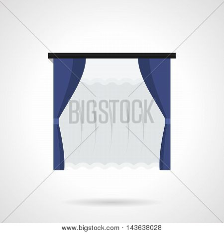Hanging blue curtains with tulle. Fabrics for window decor, house interior. Decoration for modern office, cafe, restaurant. Flat color style vector icon.